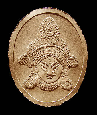 Relief Drawing Of Goddess Durga Devi  Poster by Suhas Tavkar
