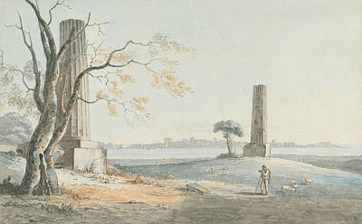 Remains Of The Temple Of Olypian Jove With A View Of Ortygia, Syracuse Poster by Henry Tresham