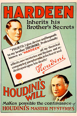 Remastered Nostagic Vintage Poster Art Hardeen Inherits Houdinis Secrets 20170416 Poster by Wingsdomain Art and Photography