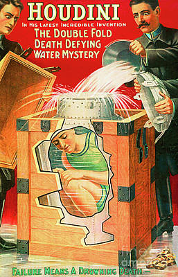 Poster featuring the photograph Remastered Nostagic Vintage Poster Art Houdini The Double Fold Death Defying Water Mystery 20170415 by Wingsdomain Art and Photography