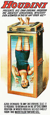 Poster featuring the photograph Remastered Nostagic Vintage Poster Art Houdini Water Filled Torture Cell 20170415 by Wingsdomain Art and Photography