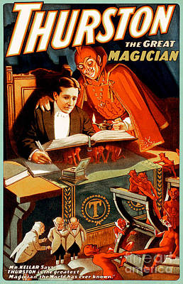 Poster featuring the photograph Remastered Nostagic Vintage Poster Art Thurston The Great Magician 20170415 by Wingsdomain Art and Photography