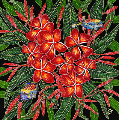 Poster featuring the painting Tropical Fish Plumerias by Debbie Chamberlin