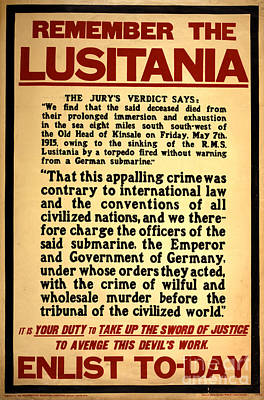 Remember The Lusitania Wwi Enlistment Poster by Photo Researchers