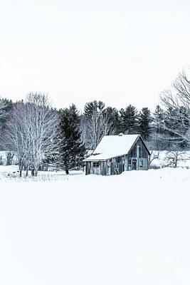 Remote Cabin In Winter Poster by Edward Fielding