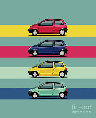 Renault Twingo 90s Colors Quartet Poster by Monkey Crisis On Mars