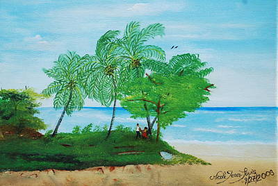 Poster featuring the painting Rendez-vous By The Beach by Nicole Jean-Louis
