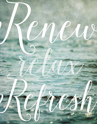 Renew Relax Refresh Bathroom Decor Poster