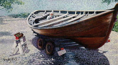 Repairing The Whaler In Boothbay Poster by Wendy Hill