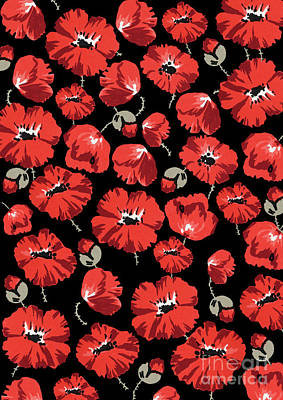 Repeating Pattern Of Poppies Montage On Black Background Poster by Mary Evans Picture Library