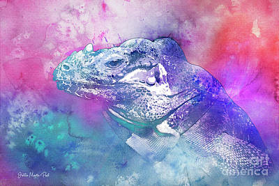 Poster featuring the mixed media Reptile Profile by Jutta Maria Pusl