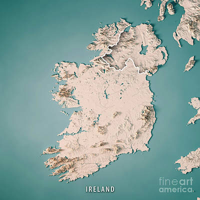 Republic Of Ireland Country 3d Render Topographic Map Neutral Poster