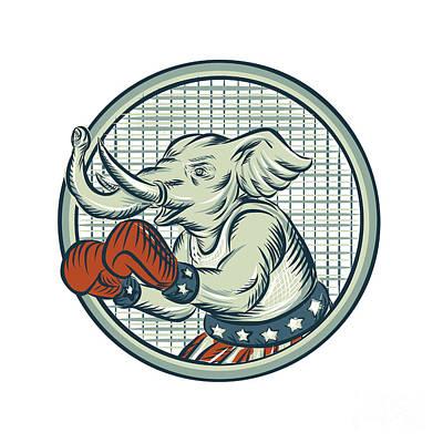 Republican Elephant Boxer Mascot Circle Etching Poster