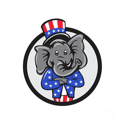 Republican Elephant Mascot Arms Crossed Circle Cartoon Poster by Aloysius Patrimonio