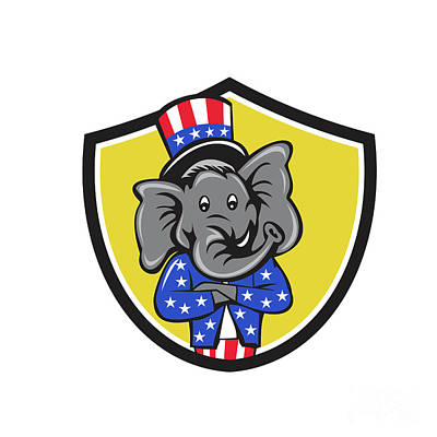Republican Elephant Mascot Arms Crossed Shield Cartoon Poster by Aloysius Patrimonio