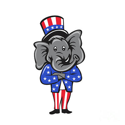 Republican Elephant Mascot Arms Crossed Standing Cartoon Poster by Aloysius Patrimonio