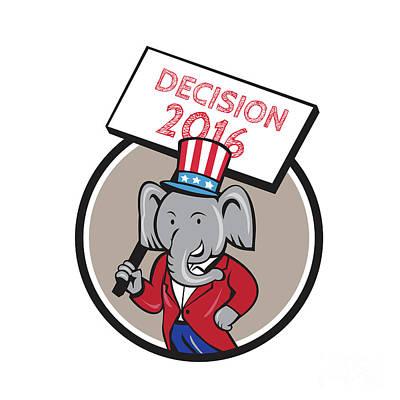 Republican Elephant Mascot Decision 2016 Circle Cartoon Poster