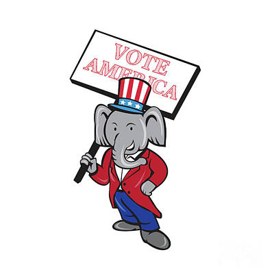 Republican Elephant Mascot Vote America Cartoon Poster