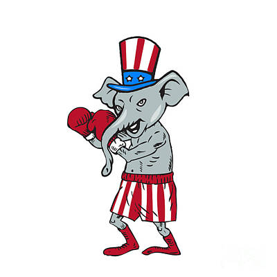 Republican Mascot Elephant Boxer Boxing Cartoon Poster