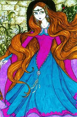 Poster featuring the drawing Repunzel by Rae Chichilnitsky