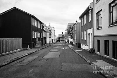 Residential Street With Multi Storey Corrugated Iron Clad Buildings Reykjavik Iceland Poster