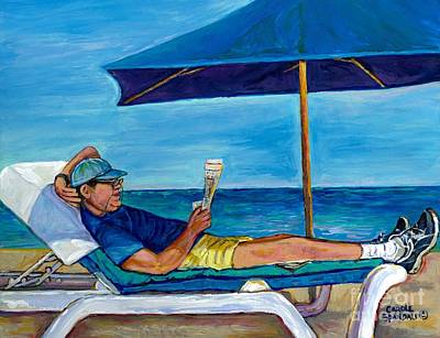Resting Reading Lawn Chair Man Reviews Newspaper Beach Front Vacation Summer Scene Carole Spandau    Poster by Carole Spandau