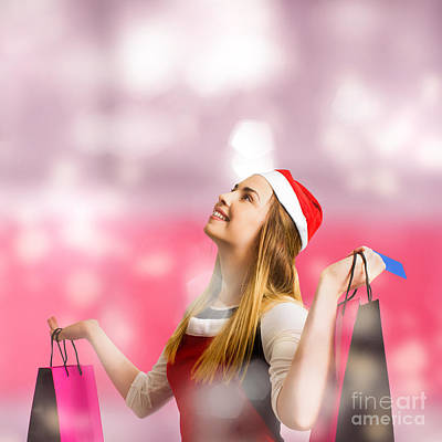Retail Christmas Holiday Woman With Store Bags Poster