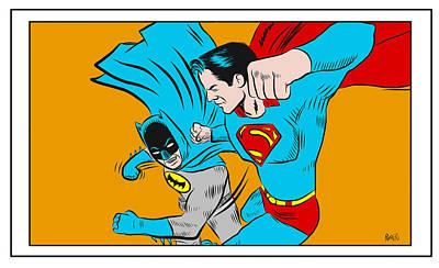 Poster featuring the digital art Retro Batman V Superman by Antonio Romero