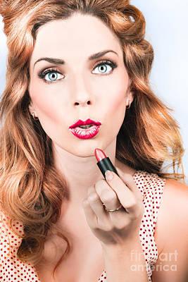 Retro Beauty Pin Up Girl Applying Lipstick Makeup Poster by Jorgo Photography - Wall Art Gallery