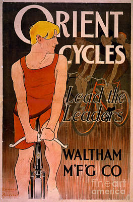 Poster featuring the photograph Retro Bicycle Ad 1890 by Padre Art