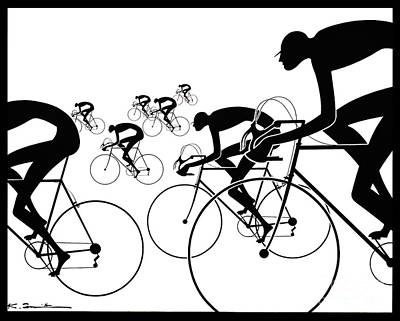 Poster featuring the photograph Retro Bicycle Silhouettes 1986 by Padre Art