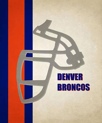 Retro Broncos Art Poster by Joe Hamilton