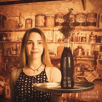 Retro Cafe Tin Sign Waitress Poster by Jorgo Photography - Wall Art Gallery