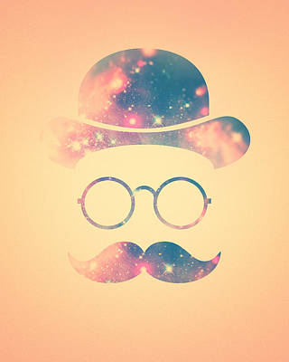 Retro Face With Moustache And Glasses  Universe  Galaxy Hipster In Gold Poster