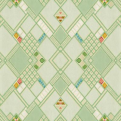 Poster featuring the digital art Retro Green Diamond Tile Vintage Wallpaper Pattern by Tracie Kaska