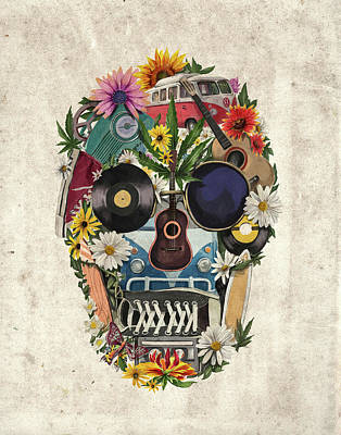 Retro Hippie Skull Poster by Bekim Art