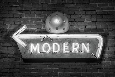 Vintage Neon Arrow Sign On Brick Wall - Black And White Poster