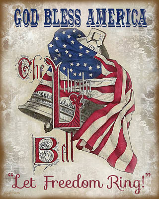 Poster featuring the digital art Retro Patriotic-a by Jean Plout