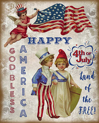 Poster featuring the digital art Retro Patriotic-c by Jean Plout