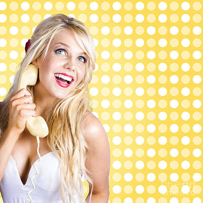 Retro Phone Beauty With Glamour Hair And Makeup Poster by Jorgo Photography - Wall Art Gallery