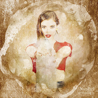 Retro Pin Up Girl Shooting Perfume Spray Bottle Poster by Jorgo Photography - Wall Art Gallery