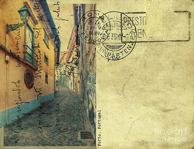 Poster featuring the digital art retro postcard of Porto, Portugal  by Ariadna De Raadt