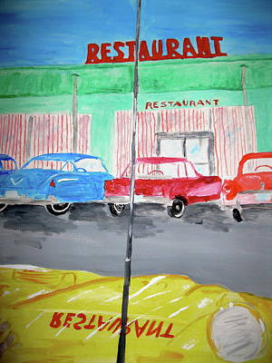 Poster featuring the painting Retro Restaurant by Rebecca Wood