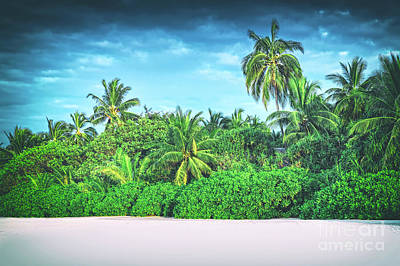 Retro Stylized Image Of Tropical Island With Coconut Palm Trees. Poster