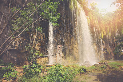 Retro Waterfall With Sunlight With Vintage Film Style Poster by Brandon Bourdages