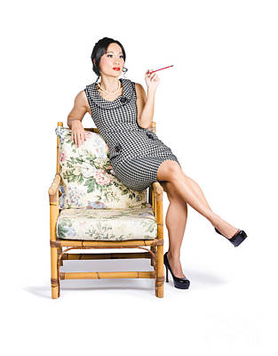 Retro Woman On Lounge Chair With Cigarette Holder Poster by Jorgo Photography - Wall Art Gallery