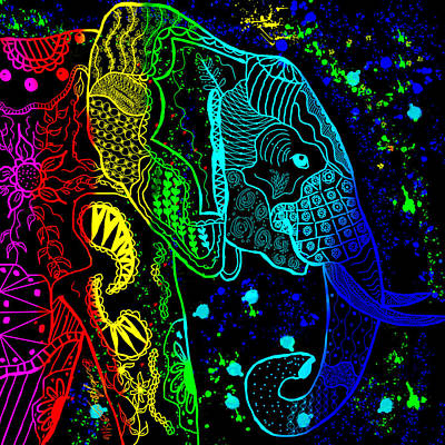 Rainbow Zentangle Elephant With Black Background Poster