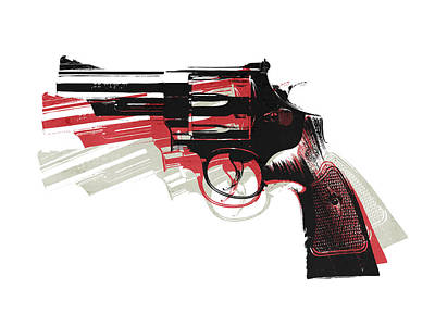 Revolver On White - Left Facing Poster by Michael Tompsett