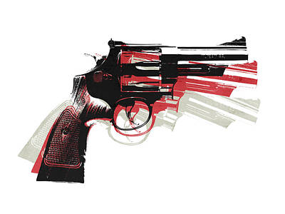 Revolver On White - Right Facing Poster by Michael Tompsett