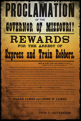 Reward For Frank And Jesse James Poster by Bill Cannon